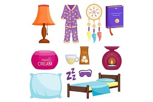 Sleep icons vector illustration set collection nap icon moon relax bedtime night bed time elements.