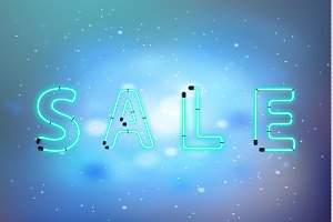 Sale neon letters on blue