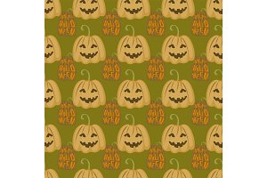 Seamless pattern halloween silhouettes dark retro background traditional scary decoration vector illustration.