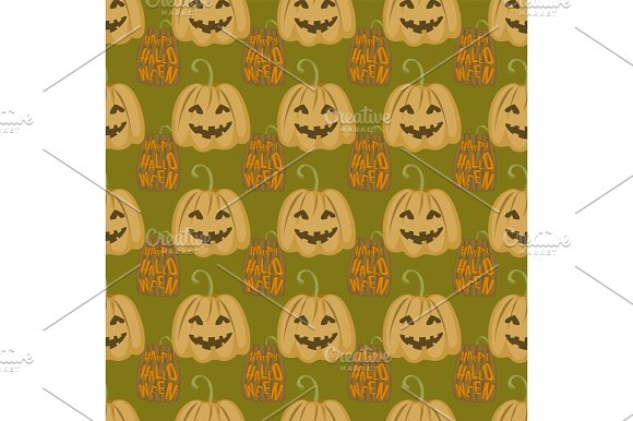 Seamless Pattern Halloween Silhouettes Dark Retro Background Traditional Scary Decoration Vector Illustration