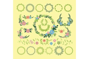 Floral wreath decoration vector illustration badge floral leaves