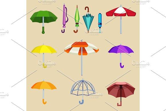 Umbrella Sifferent Design For Rain Weather Vector Illustration