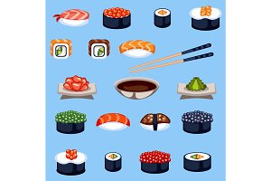 Sushi food traditional asia japan meal vector illustration.