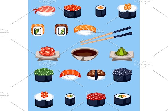 Sushi Food Traditional Asia Japan Meal Vector Illustration