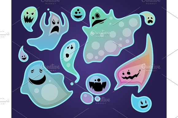 Cartoon Spooky Ghost Character Scary Holiday Monster Costume Evil Silhouette Creepy Phantom Spectre Apparition Vector Illustration