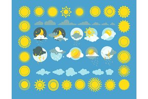 Set of weather icons vector. Sun, cloud, rain, moon