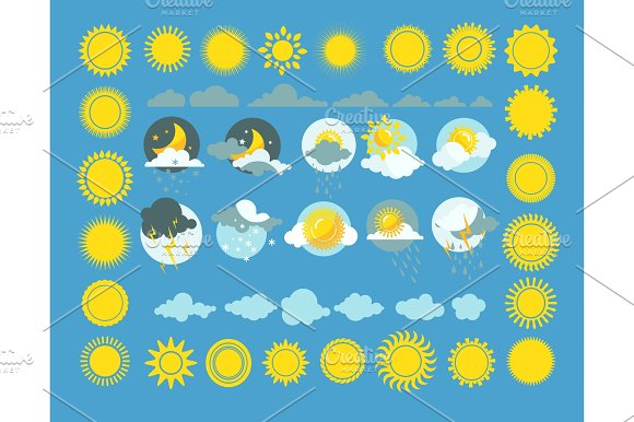 Set Of Weather Icons Vector Sun Cloud Rain Moon