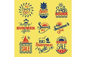 Summer badge logo seasonal sale hot offer shop vector.