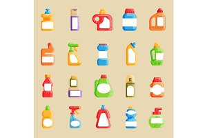 House cleaning tools vector. Home domestic cleaner pack