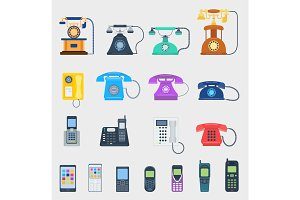 Telephones vector icons different design communication equipment