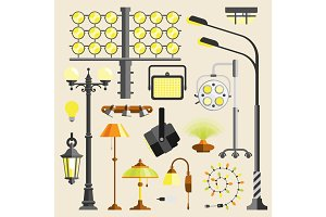 Street outdoor and home lamps light electric equipment vector tool