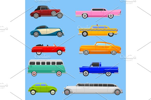 Retro Car Vehicle Transport Collection Retro Old Fashion Style Vector Illustration