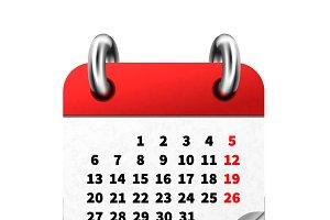 Bright realistic calendar icon
