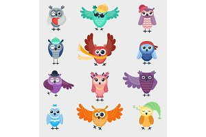Cartoon owl night fly bird cartoon cute style vector set character different pose