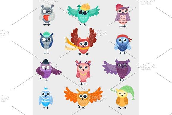 Cartoon Owl Night Fly Bird Cartoon Cute Style Vector Set Character Different Pose