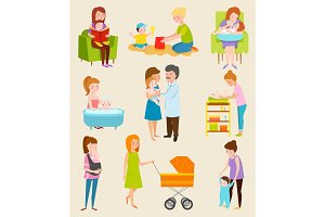 Young mother vector characters diferent pose, still woman family life