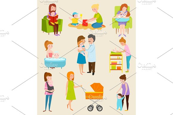 Young Mother Vector Characters Diferent Pose Still Woman Family Life