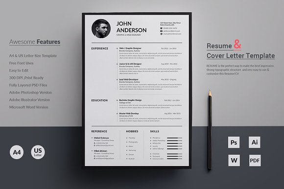 Resume CV Templates Creative Market