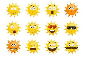 Smiling sun emoticons