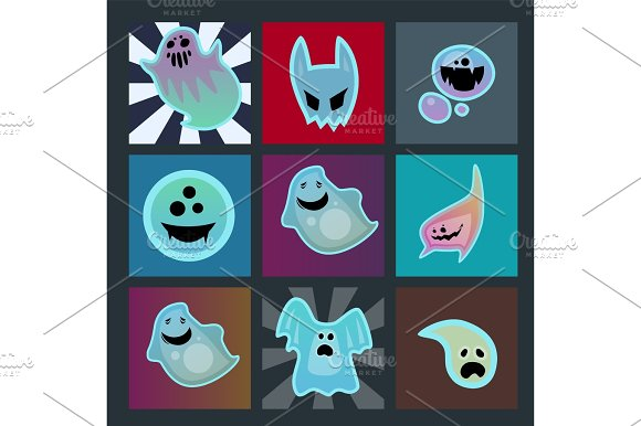 Cartoon Spooky Ghost Character Scary Cards Monster Costume Evil Silhouette Creepy Phantom Spectre Apparition Vector Illustration
