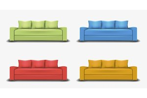 Set of colorful sofas. Object realistic design. Vector illustration