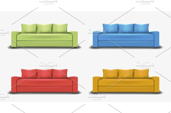 Set Of Colorful Sofas Object Realistic Design Vector Illustration
