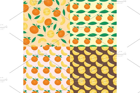 Ripe Orange Products Fruits Seamless Pattern Citrus Slices Sweet Food Realistic Organic Vector Illustration