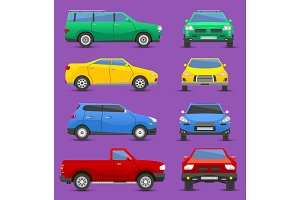 Different cars city vehicle transport vector set of front and side view