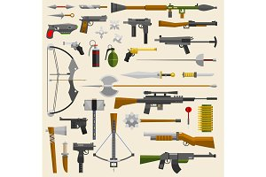 Hunter and war military weapon vector illustration. Knifes, guns, arrows