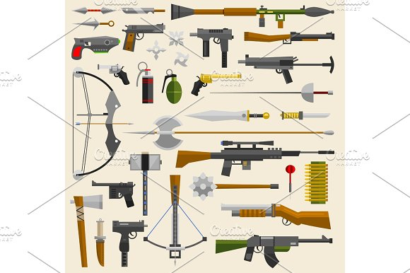 Hunter And War Military Weapon Vector Illustration Knifes Guns Arrows