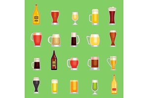 Beer mug glass vector set. Alcholol drinks different sort