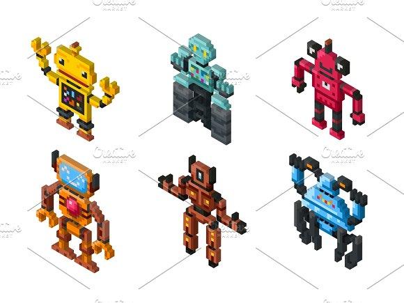 Isometric Vector Robot Toys