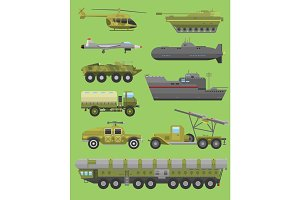 Military technic transport vehicle armor flat vector illustration.