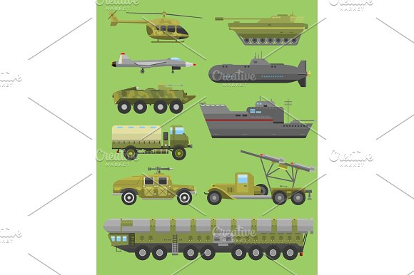 Military Technic Transport Vehicle Armor Flat Vector Illustration