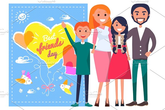 Best Friends Day Template Poster With Family