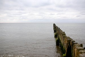 Old wooden breakwater on the Baltic Sea