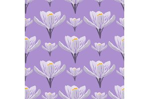 Nature spring crocus flower wreath illustration colorful seamless pattern background vector illustration.