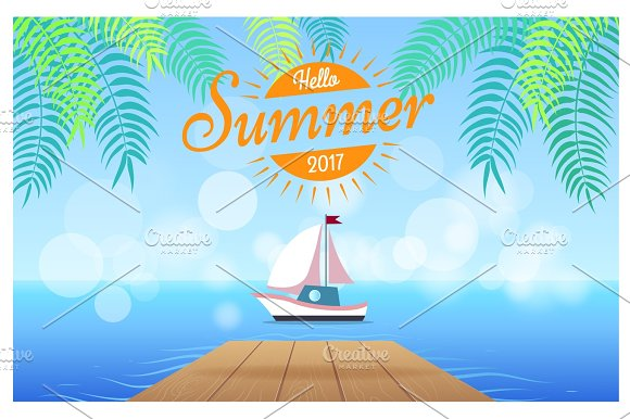 Hello Summer 2017 Card With Tropics On Background