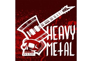 Heavy rock music badge vector vintage label with punk red symbol hard sound sticker print emblem illustration