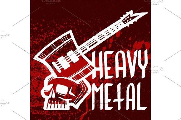Heavy Rock Music Badge Vector Vintage Label With Punk Red Symbol Hard Sound Sticker Print Emblem Illustration