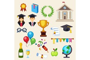 Graduation education univercity or school vector icons