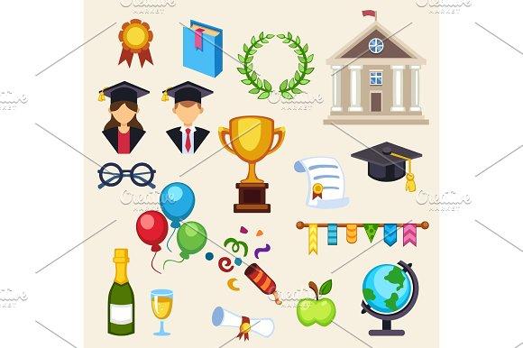 Graduation Education Univercity Or School Vector Icons