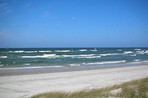 Grass sand dune beach sea view