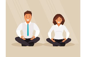 Business people meditation
