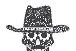 Skull vector with cowboy hat