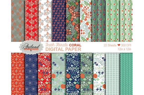 Fresh Florals Digital Paper - Coral
