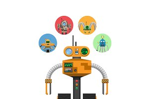 Orange Mechanic Robot with Indicators and Antennae
