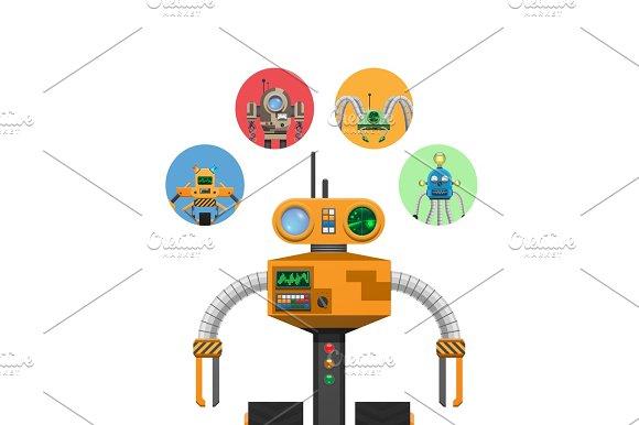 Orange Mechanic Robot With Indicators And Antennae