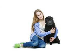 Teen age girl with dog