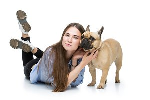 Beautiful girl with french bulldog